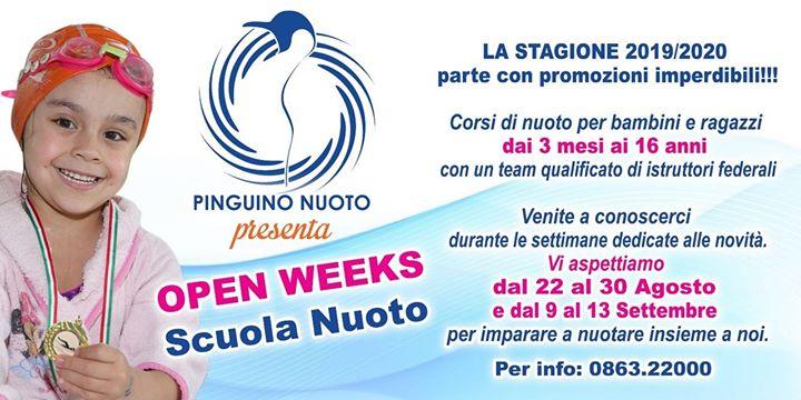 ‼OPEN WEEKS SCUOLA NUOTO dal 22 al 30 Agosto e dal 9 al 13…